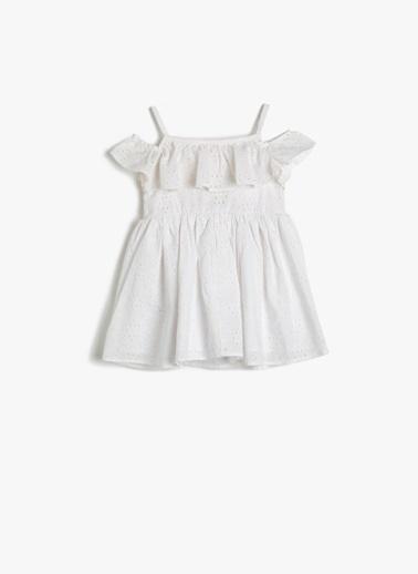 Koton Koton Fırfırlı Elbise Beyaz
